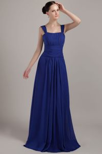 Square Neck Ruched Royal Blue Graduation Dresses for Middle School