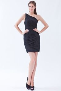 Ruched One Shoulder Black Chiffon Kitchener Ontario Graduation Dress