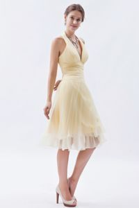 Cool Back Halter Organza Champagne Middle School Graduation Dress