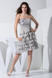 Sequin Sweetheart Ruffled Layers Knee-length Grey Graduation Gowns