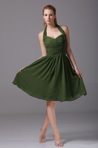 Dark Green Halter Backless Ruched Graduation Dress for Middle School