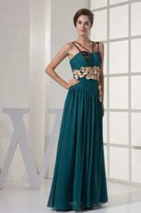 Flowers Straps Ruching Turquoise Graduation Dresses for 8th Grade