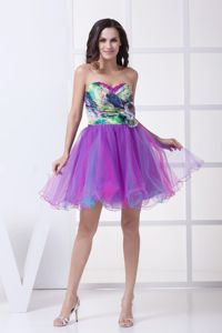 Print Sweetheart Flowers Organza Mini-length Colorful Graduation Dress