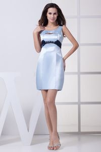 Unique Scoop Neck Beaded Light Blue Evening Dresses for Graduation