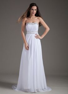 Brush Train Backless Strapless Beading University Graduation Dresses