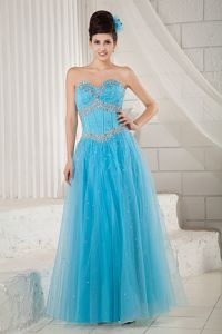 Tulle Beading Sweetheart Lace-up Back Aqua Blue Long Grad Dresses