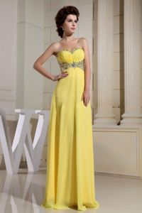 Yellow Sweetheart Bead Graduation Dress in Richmond British Columbia