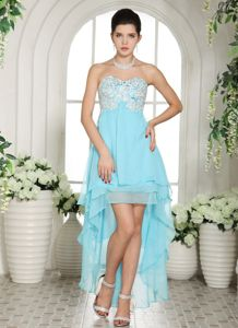 High-low Sweetheart Appliques Layers Chiffon College Graduation Dress