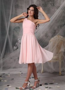 Belmont North Carolina Empire One Shoulder Baby Pink Graduation Dress