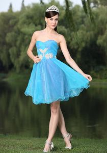 Beaded and Ruched Sweetheart Aqua Blue Graduation Dress in Alice Texas