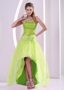 Flower High-low Yellow Green Sequins Graduation Dress in Plato Colombia
