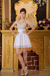 Sincelejo Colombia A-line Straps Mini-length Beading White Grad Dress