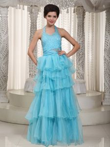 Beading and Ruffles Aqua Blue Halter Graduation Dress in Andrews Texas