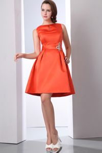 A-line Orange Red Bateau Beading Prom Dress For Graduation in Pisco Peru