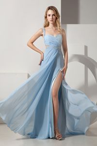Light Blue Empire One Shoulder Beading Ruches Senior Graduation Dress