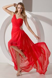 Red One Shoulder High-low Beading Graduation Dress in Huancayo Peru