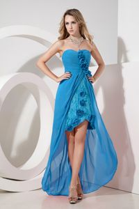 Teal Sweetheart High-low Lace Flowers and Embroidery Senior Grad Dress