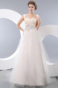 White A-line Straps Tulle Beading Senior Grad Dress in Andes Colombia