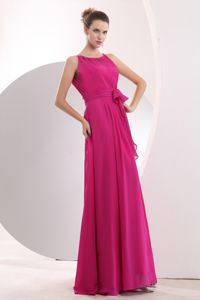 Bateau Empire Hot Pink Senior Graduation Dress in Iquitos Peru with Sash