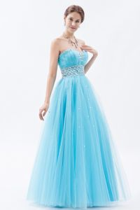 Trujillo Peru Baby Blue Sweetheart Tulle Beading Junior Graduation Dress