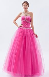 Hot Pink A-line Sweetheart Tulle Beading Grad Dress in San Gil Colombia