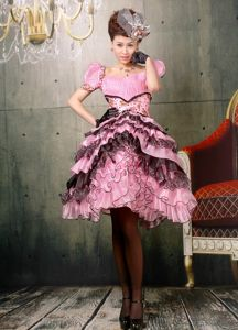 Baby Pink and Black Ruffled Layers Square Cap Sleeves Junior Grad Dress