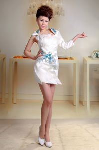 Appliques Beaded and Ruched White Graduation Dress in Teresina Brazil