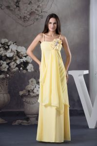 Flower Spaghetti Straps Light Yellow Graduation Dress in Ensenada Mexico