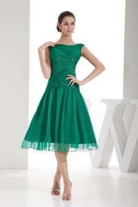 Beading and Ruches Green A-line Bateau Grad Dress in Ixtapaluca Mexico