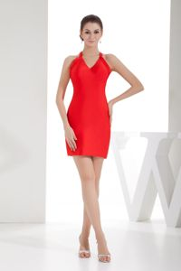 Red V-neck Graduation Dress in Apodaca Mexico with Criss Cross Back