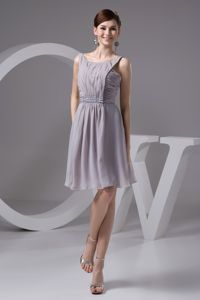 Grey Scoop Graduation Dress in Joinville Brazil with Ruches and Beading