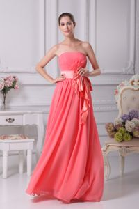 Porto Alegre Brazil Strapless Watermelon Sash Empire Graduation Dress