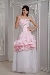 Amherst New York Baby Pink and White Mermaid Sweetheart Beaded Grad Dress