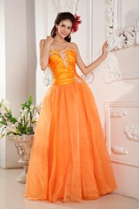 Appliques Ruches Orange Sweetheart Junior Grad Dress in Lerma Mexico