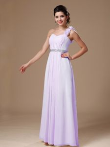 One Shoulder Flowers Beading Lilac Graduation Dress in Guasave Mexico