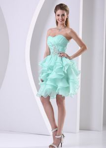 Ruffles Sweetheart Ruches and Beading Graduation Dress in Apple Green