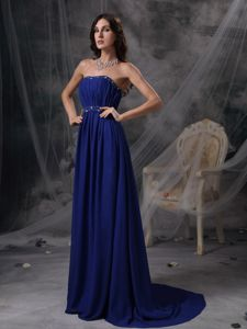 Viacha Bolivia Royal Blue Strapless Beading and Ruches Graduation Dress