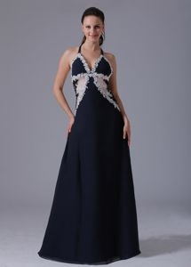 Sexy Halter Navy Blue Graduation Dress in Austin Texas with Apliques