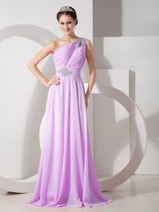 Lavender One Shoulder Beading Graduation Dress in Quillacollo Bolivia