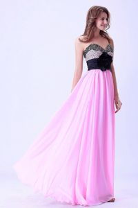 Flower Pink and Black Sweetheart Beaded Grad Dress in Contagem Brazil