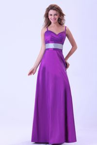 Spaghetti Straps Purple Graduation Dress in Tampico Mexico With Belt
