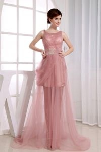 Pink Beaded Scoop Tulle A-Line Graduation Dress in Amsterdam New York