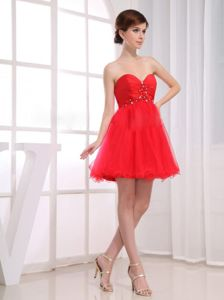 Red Beading Sweetheart Tulle A-Line Graduation Dress In Quito Ecuador