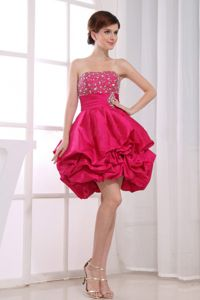 Beading A-Line Strapless Hot Pink Graduation Dress In Guayaquil Ecuador
