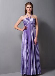 Empire Halter Pleated University Graduation Dress in Lavender