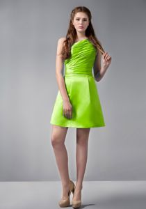 Yellow Green A-line One Shoulder Mini-length Graduation Dresses For Girls