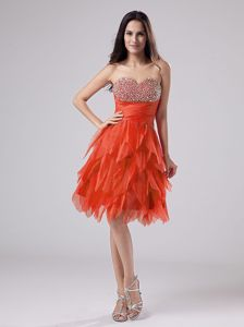 Beaded Sweetheart Rust Red Short Graduation Dress with Ruffles