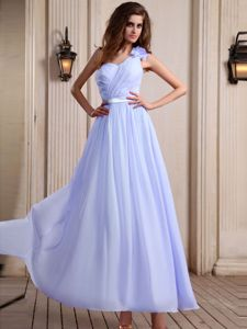 Lilac One Shoulder Prom Dress For Graduation with Sash in Lima