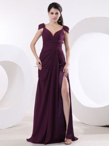 V-neck High Slit Senior Graduation Dress Purple with Cap Sleeves