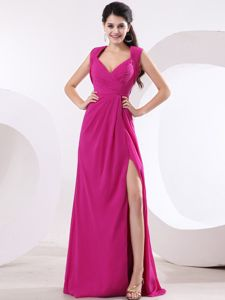Fuchsia and V-neck for High Slit Grad Dress with Ruche and Brush